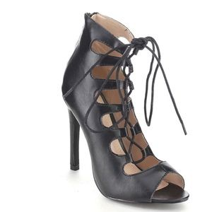 Bella Marie Lace Up Cut Out Stiletto Ankle Booties